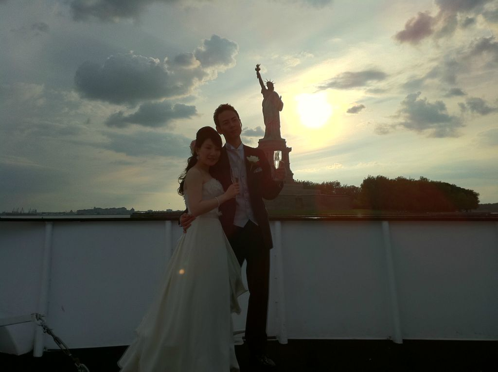 Yacht Wedding NYC Cloud 9 Top Deck Yacht Wedding