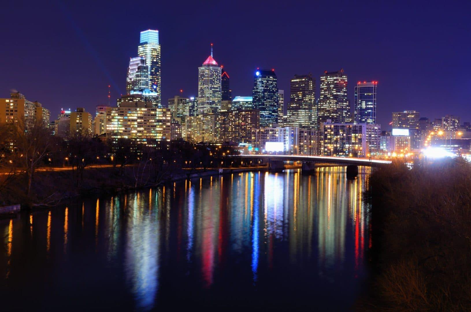 Philadelphia yacht Charter Night Skyline
