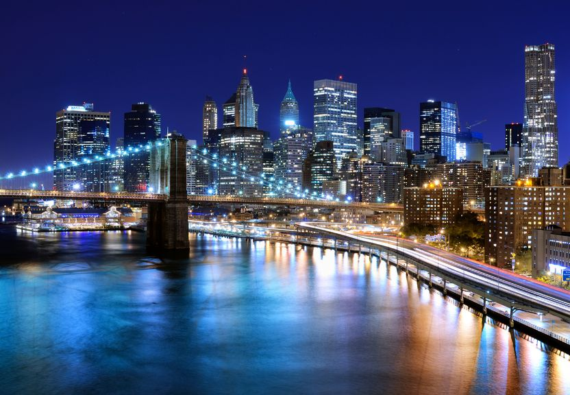 Brooklyn Bridge Night Skyline